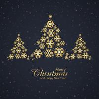 Schöne Schneeflocke der frohen Weihnachten des Festivals mit goldenem Baumde