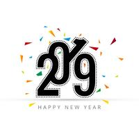 Elegant 2019 happy new year card with white background