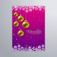 Beautiful merry christmas card poster with brochure template bac