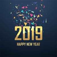 Beautiful 2019 new year card celebration background vector