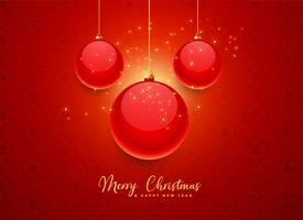 beautiful red christmas balls background