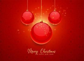 beau fond de boules de Noël rouge