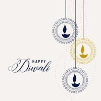 happy diwali decorative lamps background