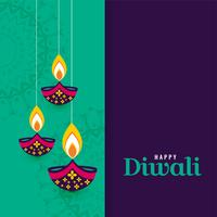 decorative happy diwali diya lamps background