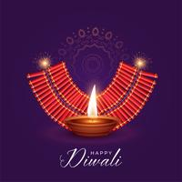 illustration of burning diya and cracker for diwali festival