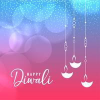 Plantilla de saludo festival feliz diwali con diya colgante