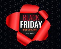 affiche de vente vendredi noir dans le style de papier déchiré