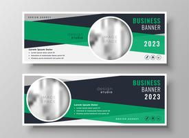 Plantilla de diseño de banner de negocio verde abstracto