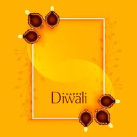 happy diwali greeting with diya and text space