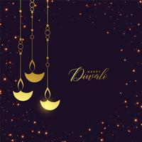 premium gouden hangende diya met sparkles achtergrond