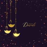 premium golden hanging diya with sparkles background