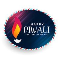 happy diwali diya label design
