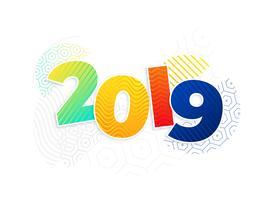 funky Memphis-Stil 2019 Hintergrund des neuen Jahres