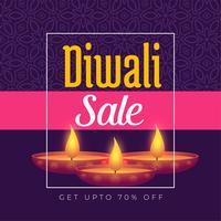 conception de modèle d'affiche de festival offre diwali avec gravure de diya