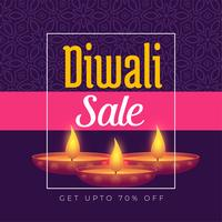 diwali festival offer poster template design with burning diya