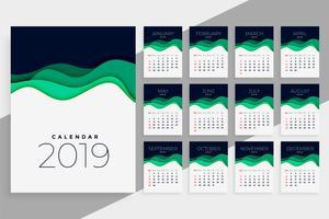 nieuwjaar 2019 kalendersjabloon