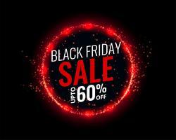 sfondo nero vendita venerdì con effetto luci rosse
