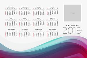2019 kalendern för yar designmallen