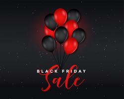 affiche de vente vendredi noir avec des ballons volants