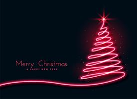 red neon christmas tree creative design background