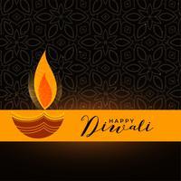künstlerisches Diwali Diya Design auf dunklem Hintergrund