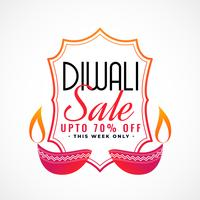 happy diwali sale banner with decorative diya