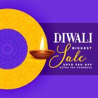 conception créative de bannière de vente diwali dans le thème violet