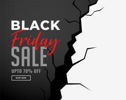 bannière de vente vendredi noir avec effet de fissure