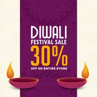 diwali sale poster design with two diya
