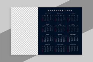 nuovo anno 2019 design del calendario con lo spazio dell'immagine