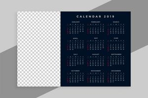 new year 2019 calendar design with image space