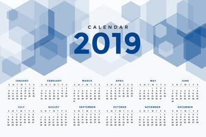 calendar 2019 abstract geometric style template