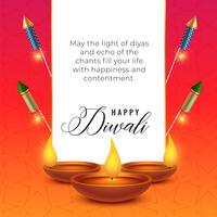 diwali festival wishes background with diya and crackers