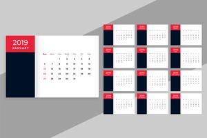 Calendario de escritorio 2019 en estilo minimalista