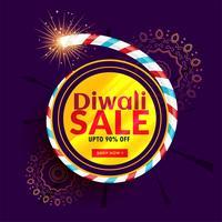 diwali sale poster design with cracker