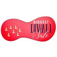 diwali försäljning banner med hängande diya konst