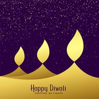 creative three diwali golden diya background