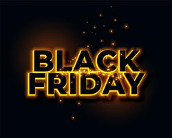 glowing yellow neon lights black friday background