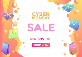 Cyber Monday Sale Social Media Post Vector