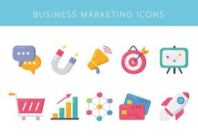 Iconos de elementos de marketing de negocios