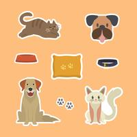 Flat Funny Cat and Dog Sticker Template Vector Illustration