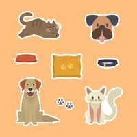 Plano gracioso gato y perro pegatina plantilla ilustración vectorial