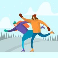 Pareja plana jugar patinaje sobre hielo ilustración vectorial