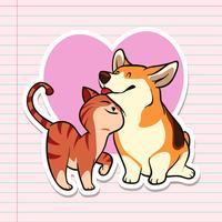 Etiquetas engomadas lindas del gato y del perro