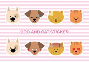 Chien simple et stiker chat