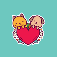 Cat and Dog Stickers Vector
