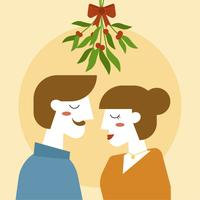 Adult Couple Standing Under Mistletoe Vector