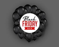 Schwarzer Freitag Verkauf Hintergrund mit Ballon fliegen