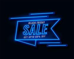 bannière de ruban néon vente de vendredi noir