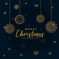élégant fond de flocons de neige joyeux Noël noir et or